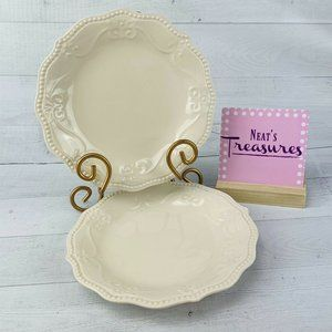 Pioneer Woman LINEN OFF WHITE Salad Plates 2
